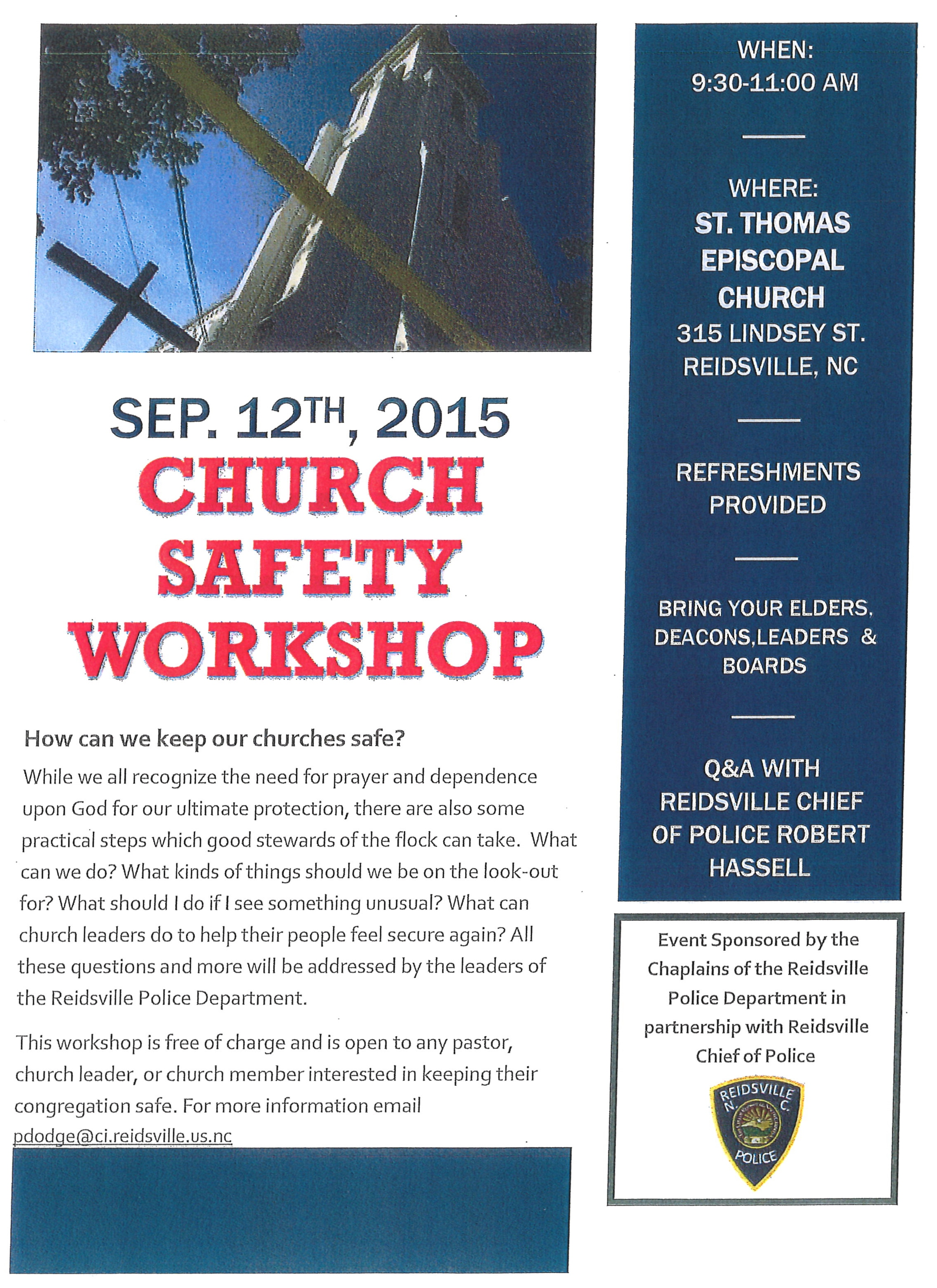 Church safety workshop sep 12 2015 cm reidsville for Church security plan template