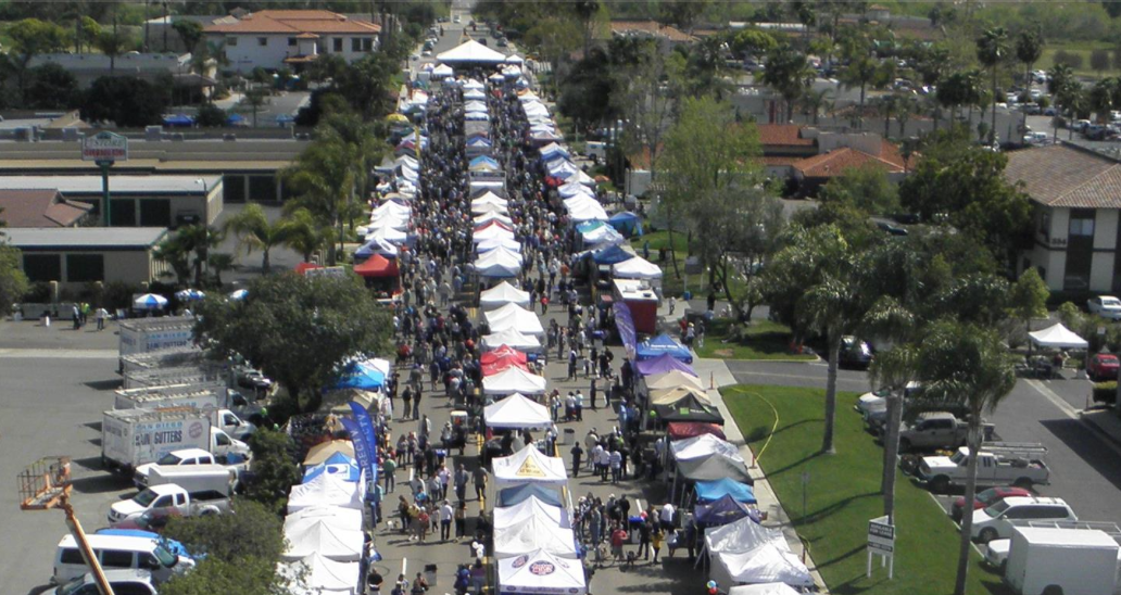 24th Annual 2016 San Marcos Chamber Spring Festival & Street Faire, San Marcos, CA, aerial view of past crowds