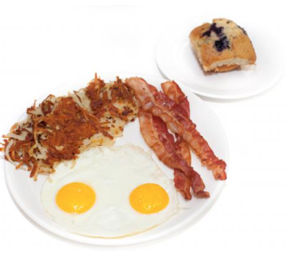 Eggs, Bacon, Hash Browns and Blueberry Muffin