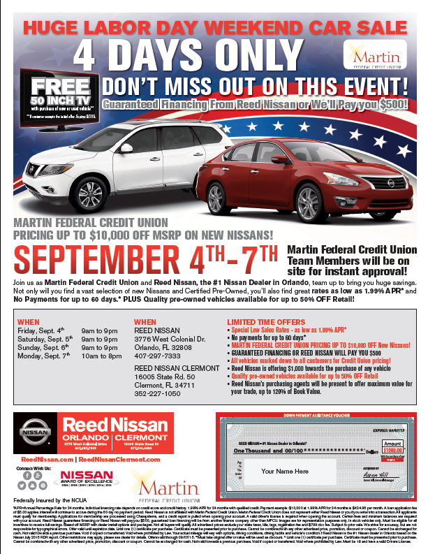 huge labor day weekend car sale 4 days only reed nissan sep 4 2015 to sep 7 2015. Black Bedroom Furniture Sets. Home Design Ideas
