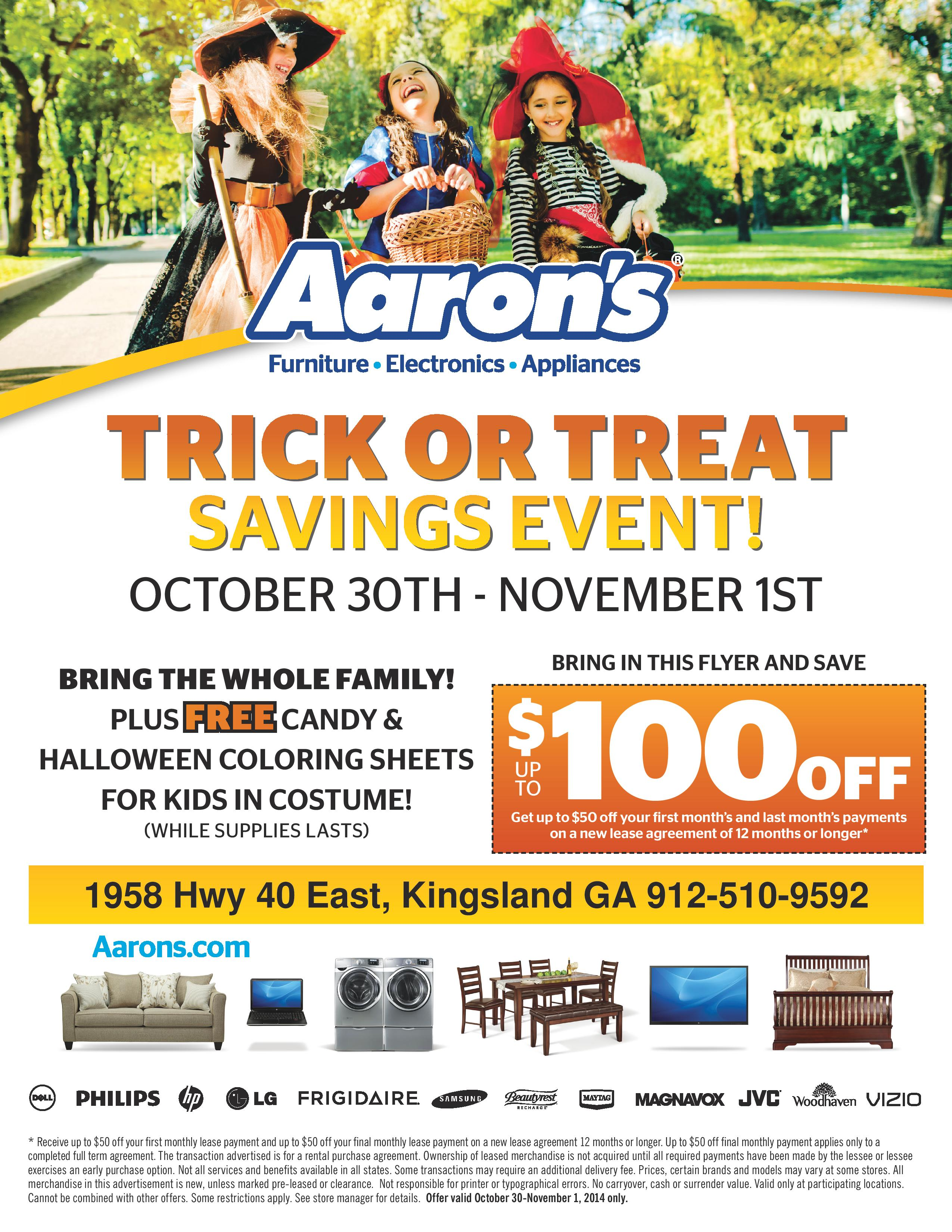 Aarons Trick Or Treat Savings Event