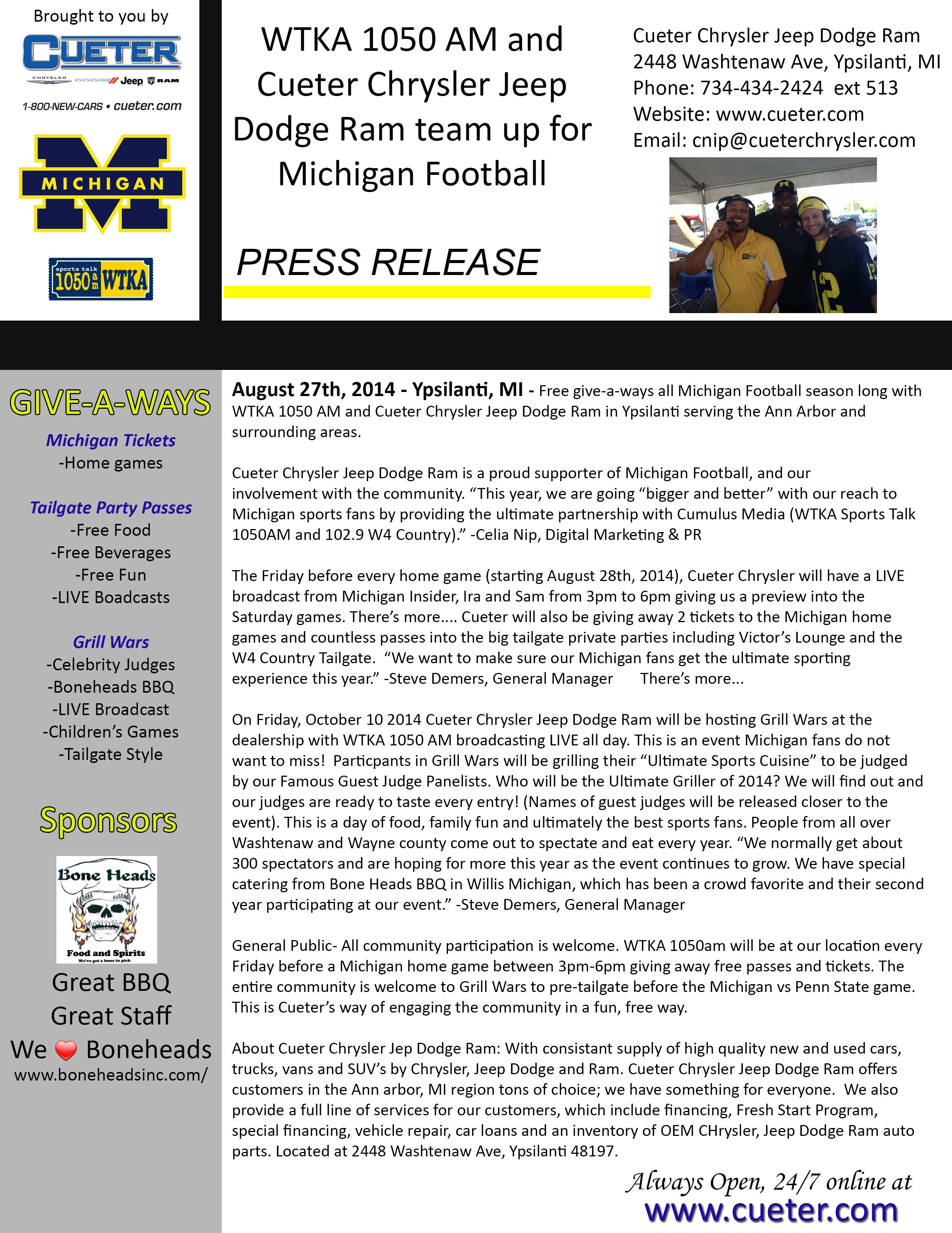 WTKA 1050AM And Cueter Chrysler Jeep Dodge Ram Team Up For Michigan Football