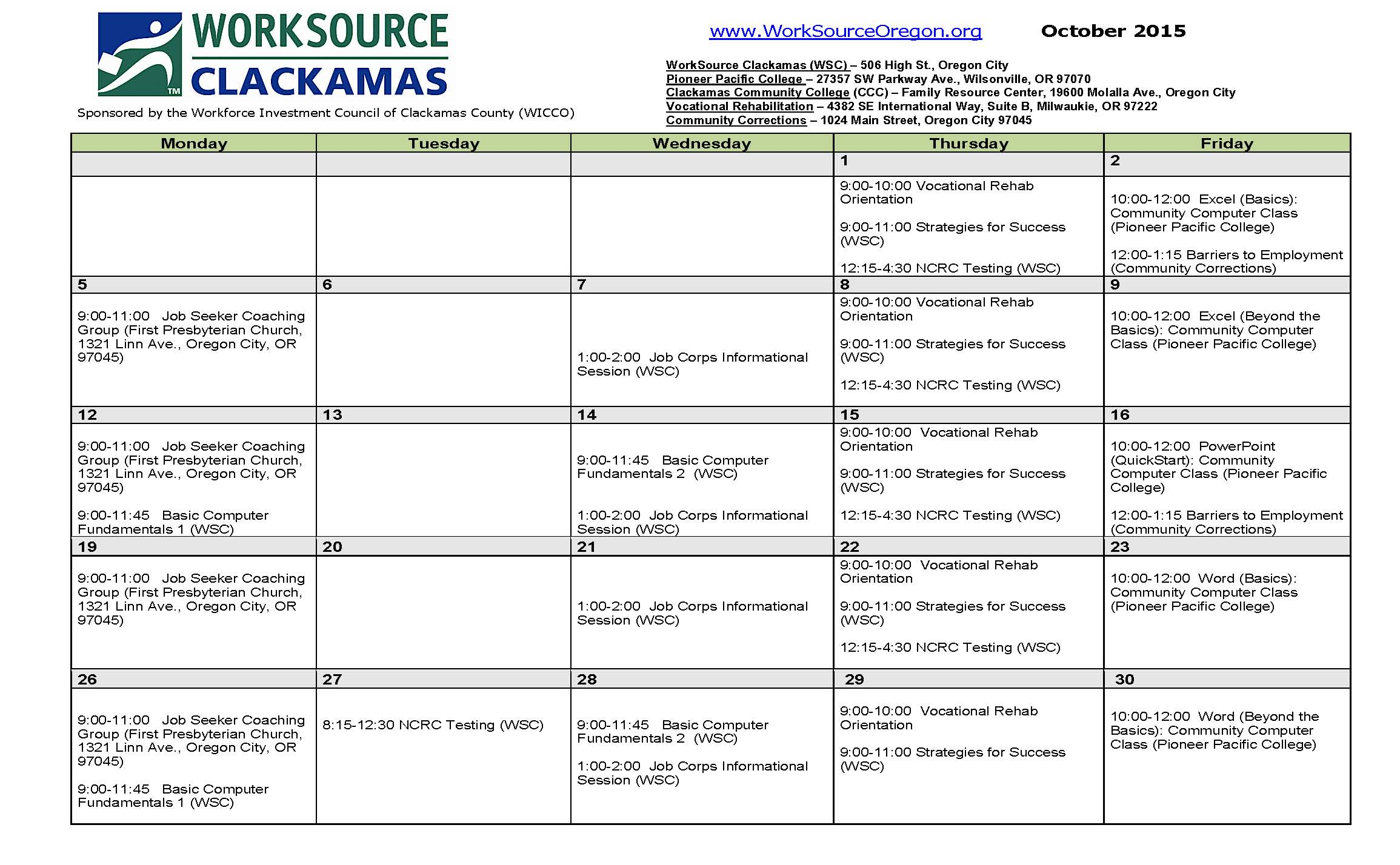 october 2015 worksource clackamas workshop calendar