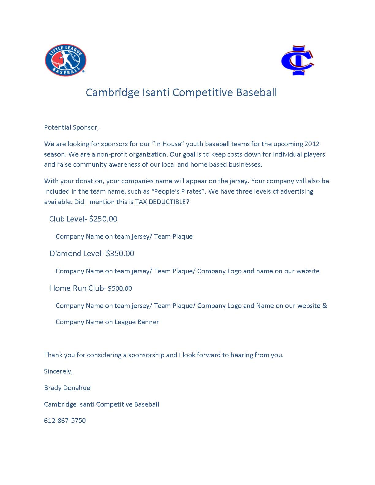youth baseball sponsor thank you letter example download