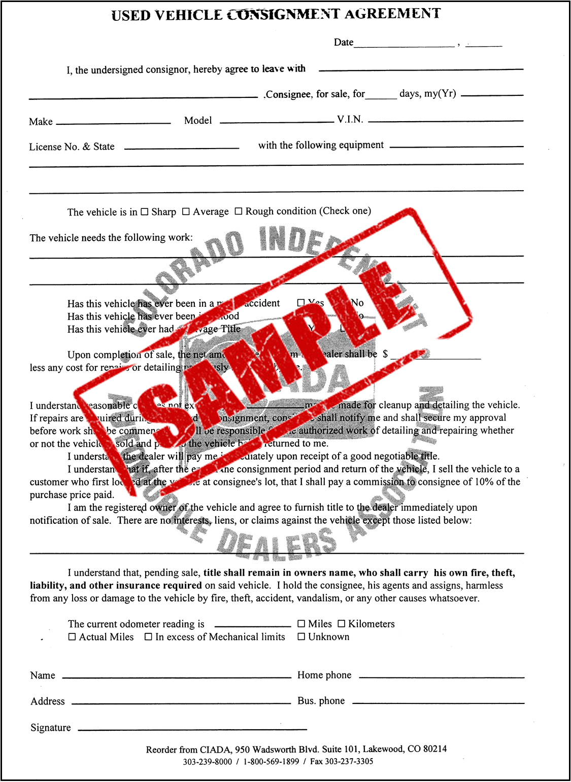 Store. 18 USED VEHICLE CONSIGNMENT AGREEMENT (DUPLICATE ...